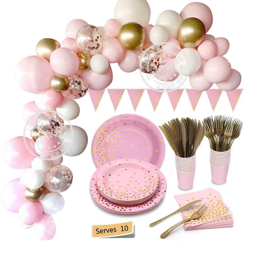 Pink Gold Dot Disposable Tableware PARTY ตกแต่งบอลลูน Garland Arch ชุด BABY Shower Birthday PARTY อุปกรณ์ตกแต่ง