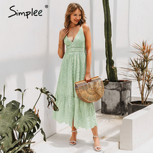 Simplee Elegant strap long summer dress women V neck button sexy lace dress female Casual white maxi dress festa vestidos 2019