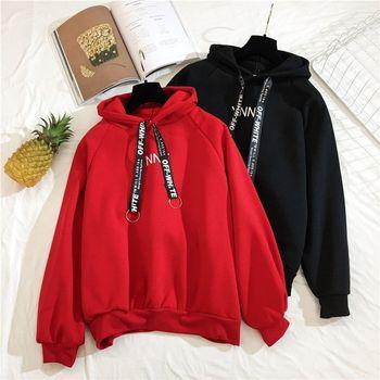 Winter plus velvet hooded tops Korea fashion vintage loose long-sleeved Harajuku letter BF casual women ins Sweatshirt