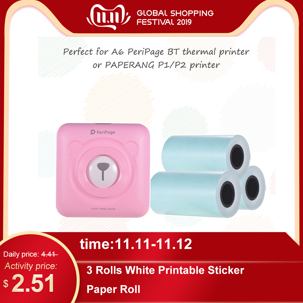 3 Rolls White Printable Sticker Paper Roll Direct Thermal with Self-adhesive 57*30mm(2.17*1.18in) for PeriPage