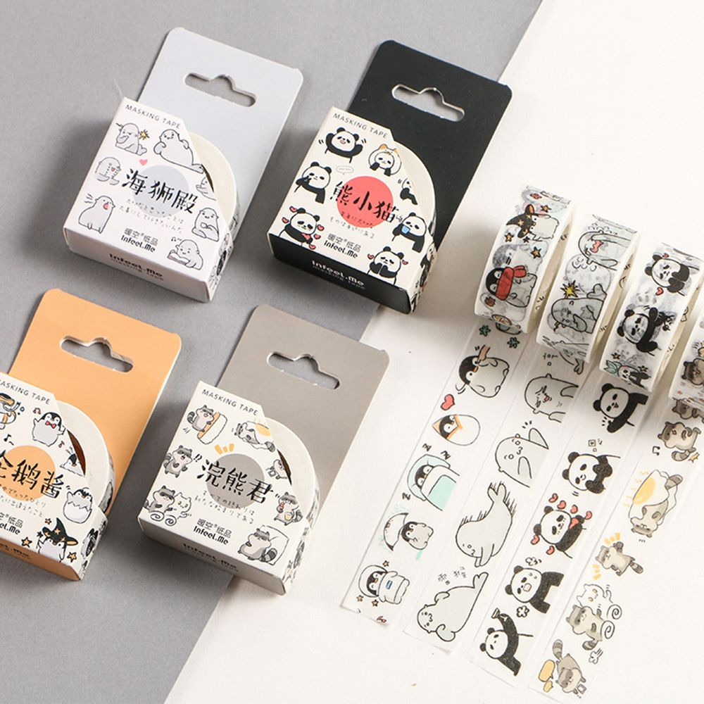 1.5cm Wide Round Animal Panda Penguin Raccoon Duck Washi Tape DIY Sticker New Masking Tape Label Japanese Office Accessorie