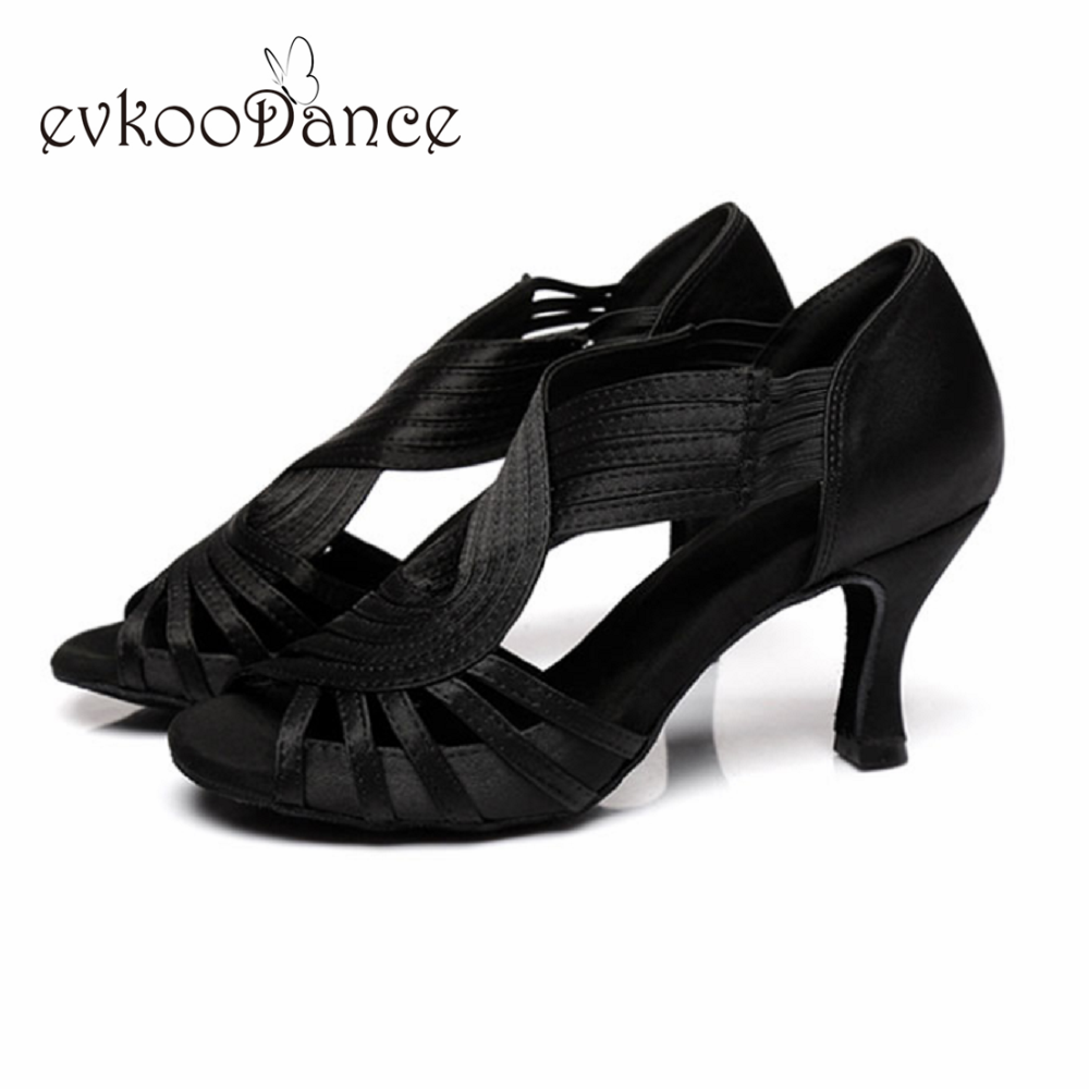 Evkoodance Black/red/brown Women  Shoes  Latin Dance Shoes  Heel Height 6/7cm Zapatos De Baile  Professional Evkoo-628