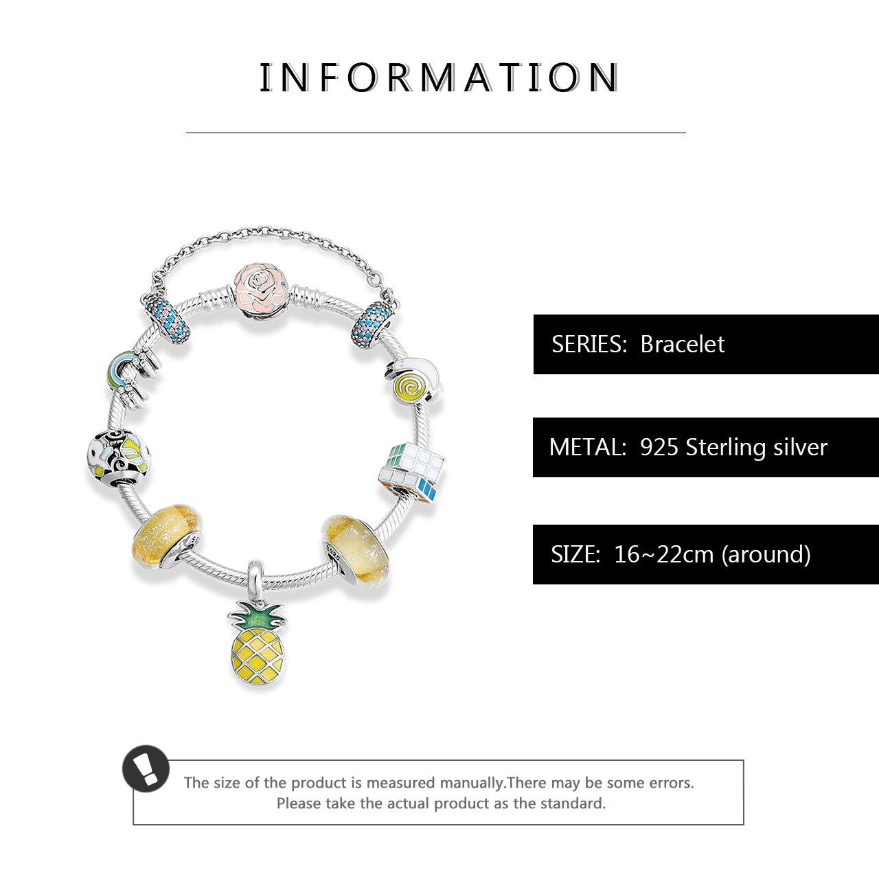2019 novo 925 prata esterlina pulseiras & pulseiras colorido esmalte cz arco íris unicórnio charme para as mulheres jóias diy cristal pulseira - 3