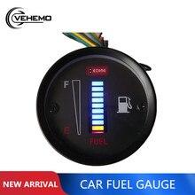 VEHEMO Автомобильный датчик топлива, универсальный автомобильный двигатель мотоцикла 52 мм 12 В светодиодный датчик расхода топлива, цифровой датчик соотношения топлива