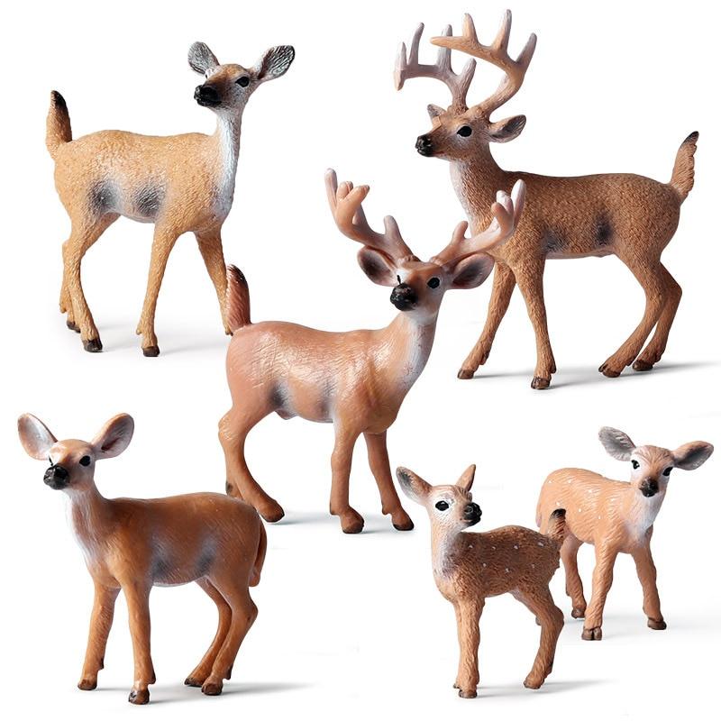Simulation Forest Deer Figurines Moose,Elk,reindeer,Alpaca,Sika Deer Action Figures Animal Model Decoration Cake Toppers Toys