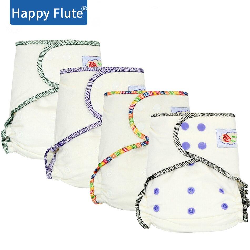 HappyFlute одноразовый бамбуковый хлопковый подгузник, натуральный, AIO подгузник, подходит для малышей от 5 до 15 кг, необходимо носить подгузник
