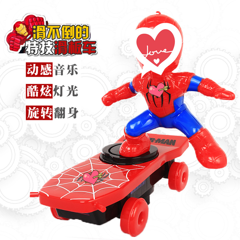 Douyin Celebrity Style Spider Scooter Toys With Light And Sound Stunt Tilting Cartoon Electric Toy Car Boy