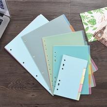 5PCS Office Classification Translucent Plastic Separator A4 / A5 Color Label Separation Index Card Loose-leaf Paper