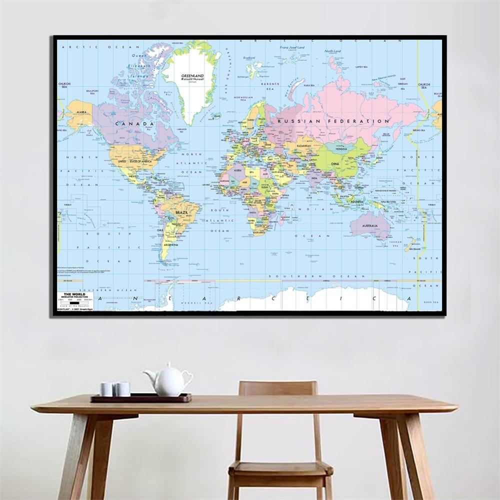 A2 Size The World Map Mercator Projection Fine Canvas Painting Unframed Wall Map For Home Office Wall Decoration