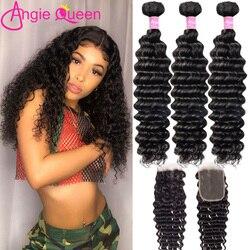 Deep Wave hair bundles with closure Malaysian non Remy Hair Bundles With Closure 100% Human Hair closure with 4 Bundles 26 inch