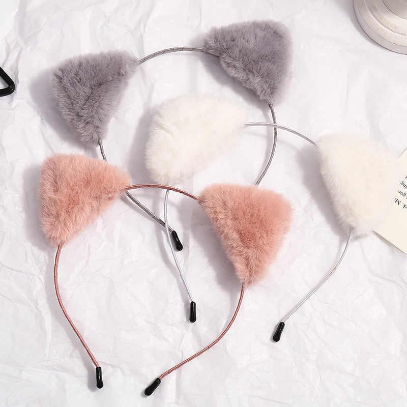 Bandeau de cheveux en peluche pour femmes | Boucles tête de chat doux, lunette de cheveux, accessoires de cheveux, pour fête d'anniversaire