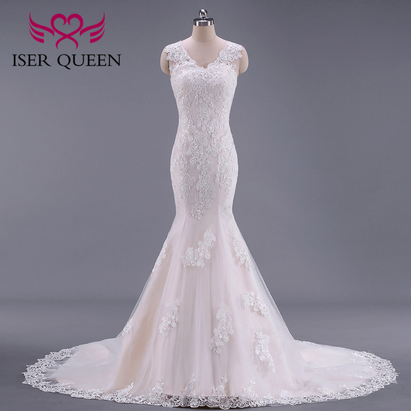 One Shoulder Appliques Embroidered Lace On Net Trumpet Wedding Gown Illusion Button Court Train Vestidos De Boda De Noche W0024