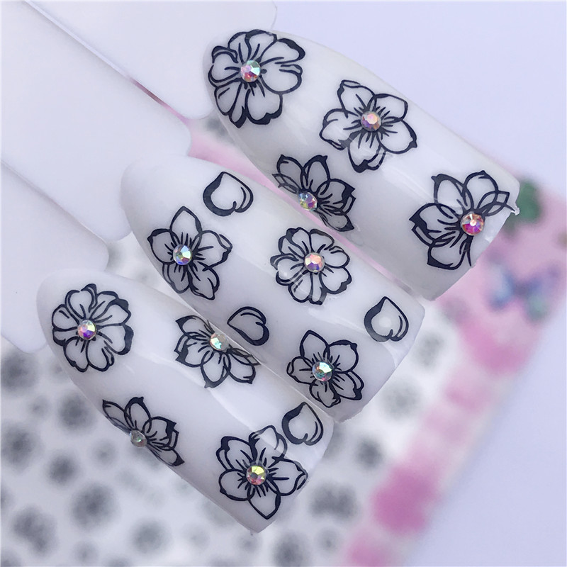 New Products 3D Ultra-Thin Gum Nail Sticker-Black And White With Pattern Flower Nail Sticker Flower Jewelry Straight Connector A