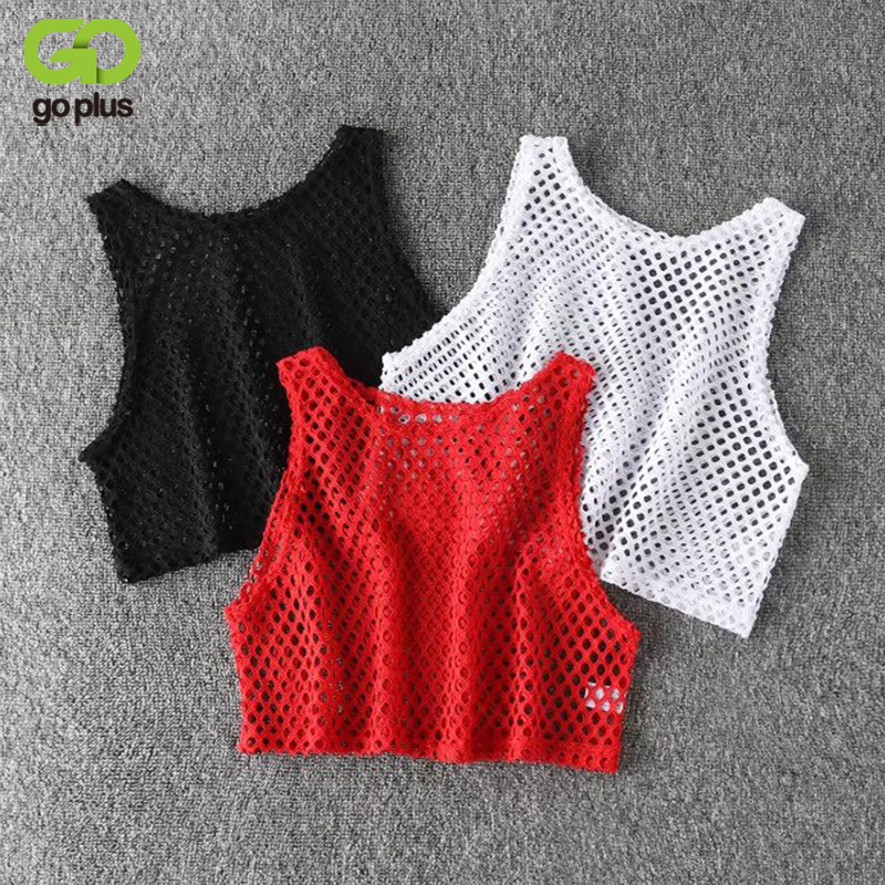 GOPLUS Sexy Black/Red Hollow Out Mesh T-shirt Female Loose Crop Top 2019 Fashion Summer Basic Tops For Women Fishnet Shirt C4114