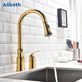 Kitchen Faucet Brass Gold Pull Out Kitchen Sink Water Tap Single Handle Mixer Tap 360 Rotation Kitchen Shower Faucet. quyanre black led orb kitchen faucet pull out sprayer 360 rotation single handle mixer tap sink faucet black rubber faucets
