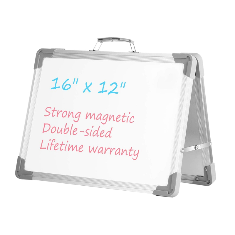 Dry Erase Whiteboard 16 Inch X 12 Inch Magnetic Double Sided Desktop Whiteboard Portable Easel With Stand & Holder For Kids Teac
