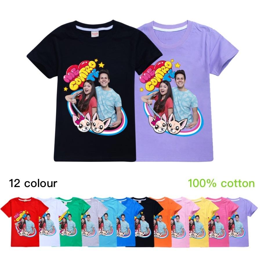 Cotton Me Contro Te Girls Tops Fashion Summer Clothes Kids Black Shirts O-Neck Cartoon Boys Short Sleeve Clothing Child T Shirt