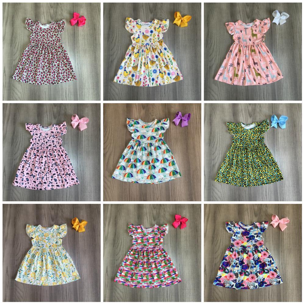 Exclusive summer baby girls children clothes boutique leopard flower farm dinosaur cotton milk silk knee length dress match bow 1
