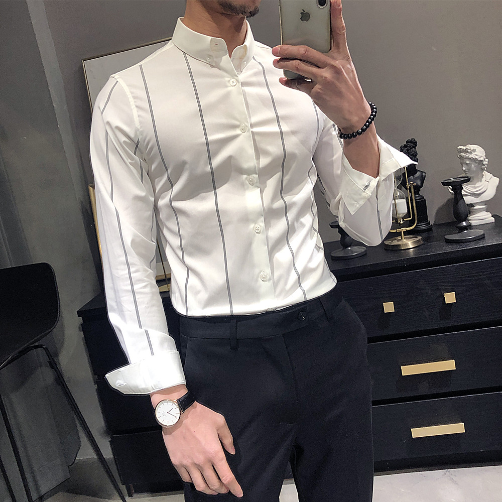High Quality Men Dress Shirts Casual Slim Fit Long Sleeve Stripe Shirt Camisa Masculina Formal Business Streetwear Social Shirt