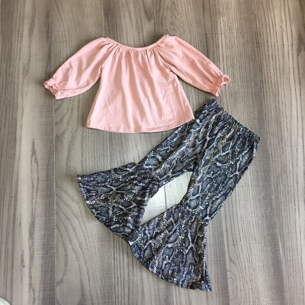 Children Girls Fall Clothing Girls Bell Bottom Outfits Girls Solid Pink Shirt Serpentine Pants