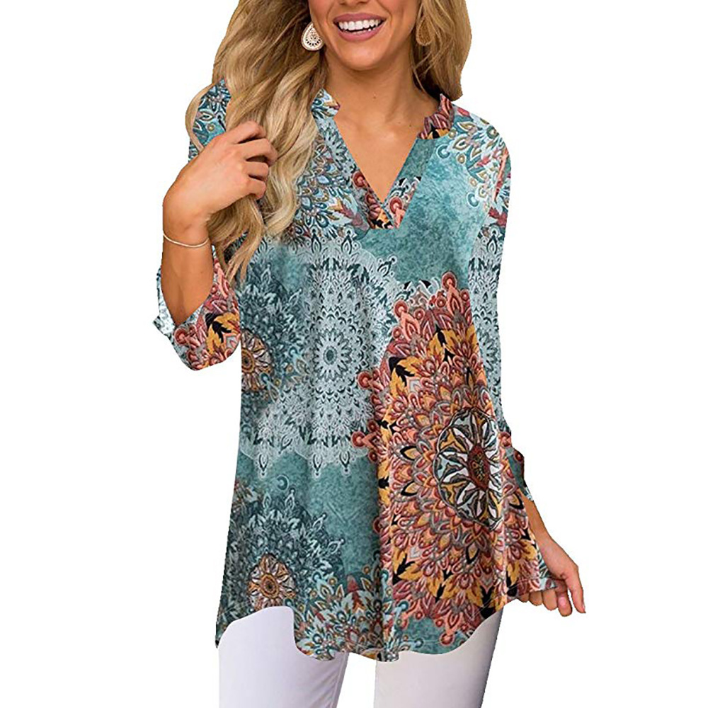 women blouse fashion 2020  female womens top print floral  festivals 2020  elegance shirt ladies clothing top 90s