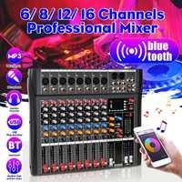 Profissional 6/8/12/16 canais bluetooth microfone digital som mixer console karaoke áudio mixer amplificador com usb|Equipamentos de DJ| |  -