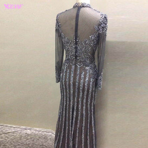Image 4 - YQLNNE Gorgeous Dark Gray Diamonds Evening Dresses Long Sleeve Dubai Evening Gown Mermaid High Neck Beaded Formal Dress