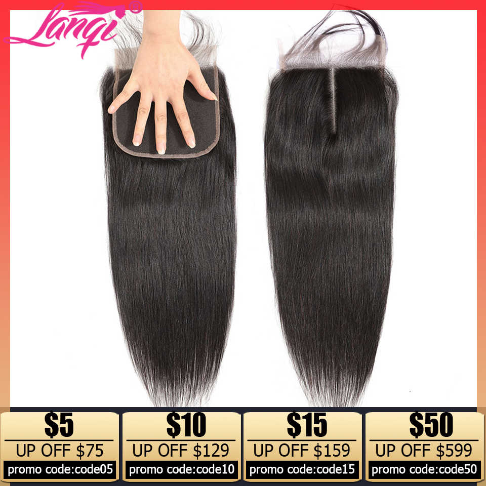 Lanqi 4x4 5x5 6x6 lace closure transparent hd lace closure Non-remy Peruvian straight Human Hair Swiss Lace Top Closure