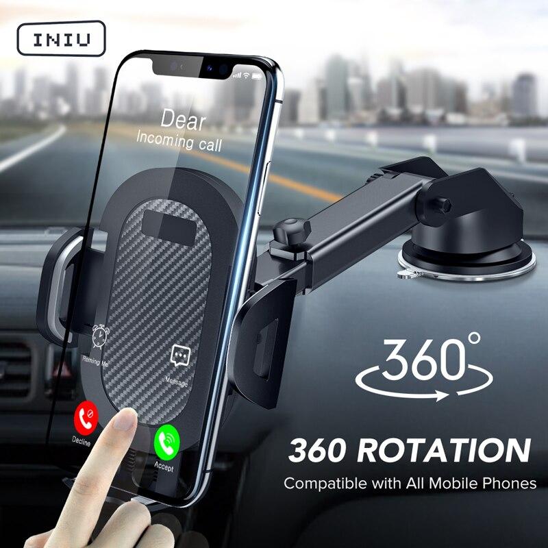 INIU Ventouse Voiture Support de Support de Téléphone GPS Téléphone Portable Support Pour iPhone 12 11 Pro Max X 7 8 Plus Xiaomi Redmi Huawei