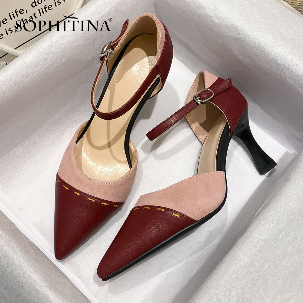 SOPHITINA New Fashion Women Pumps Summer Patchwork Design Buckle Strap High Quality Cow Leather Shoes 8cm Thin Heels Pumps SO412