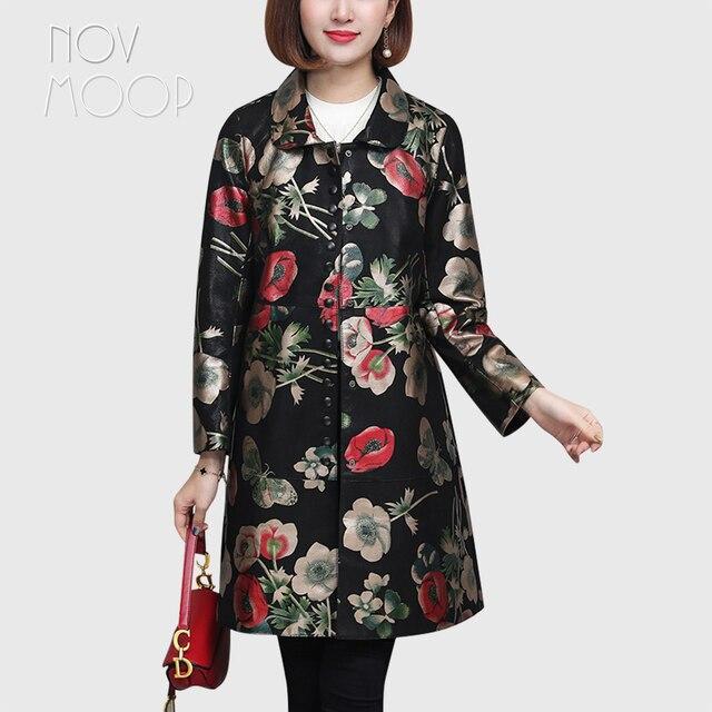 Novmoop rus rahat çiçek baskılı artı boyutu hakiki deri ceket kadın kış bahar ceket cuero genuino chaqueta LT2967