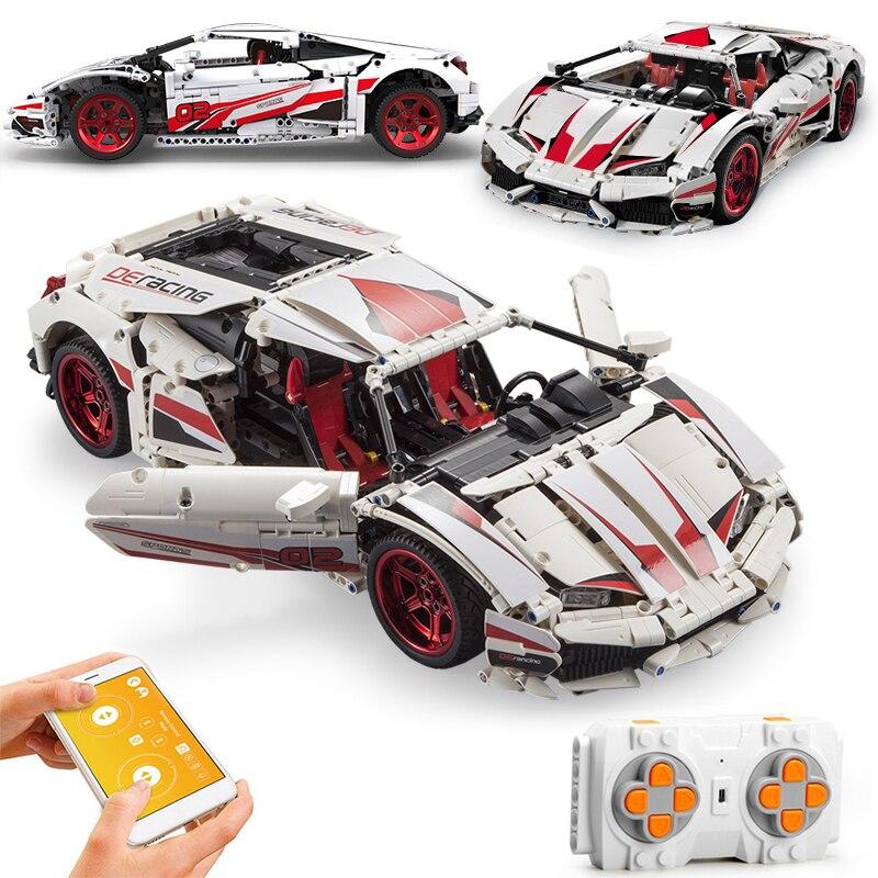 Miasto APP RC pilot wytrzymałość samochód sporty wyścigowe pojazd klocki Racer Supercar zabawki cegły dla dzieci prezenty