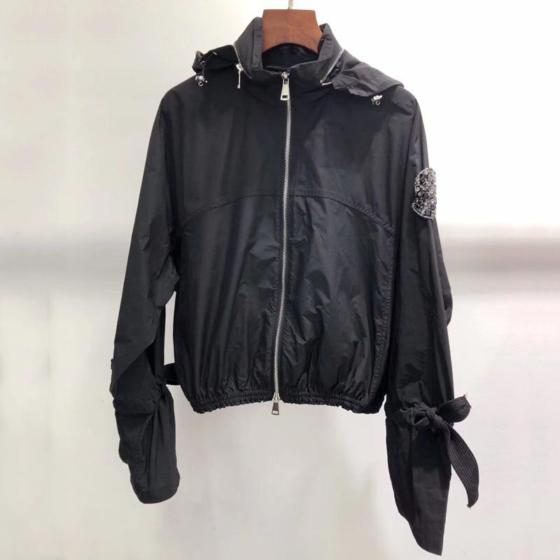 Schwarz Jacke Für Frauen Casual Langarm Dame Mit Kapuze Jacke Mantel 2019 Frauen Neue Zipper Jacke-in Basic Jacken aus Damenbekleidung bei  Gruppe 1