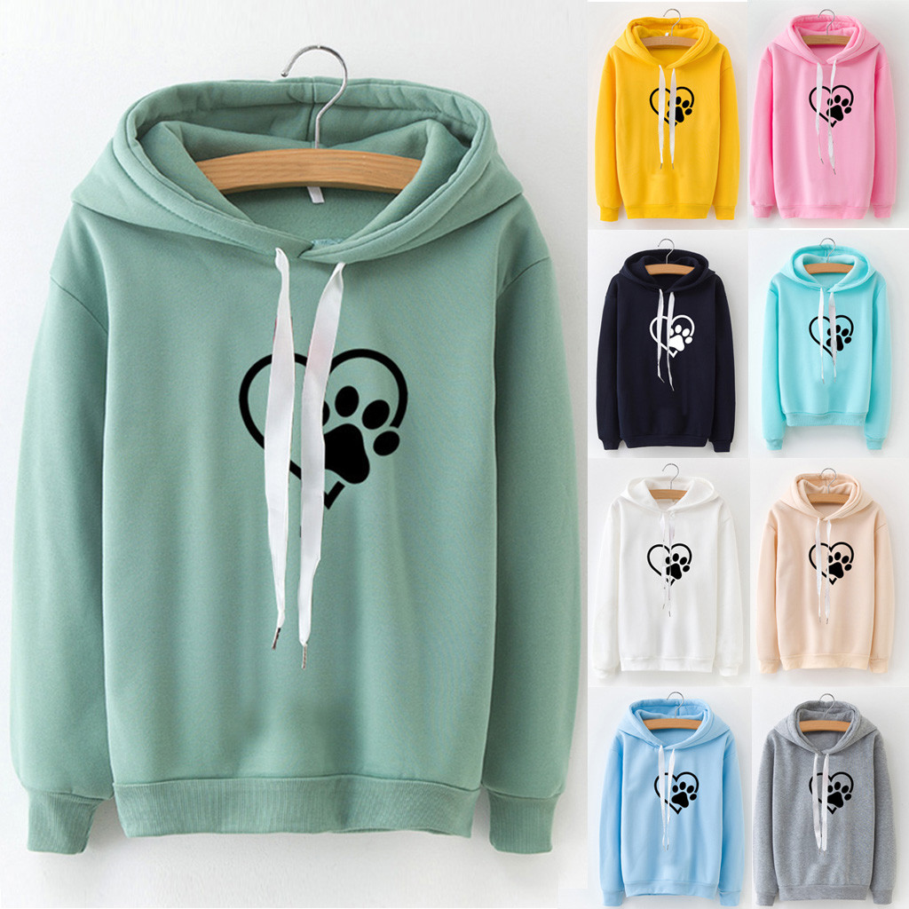 Womens Long Sleeve Hoodie Sweatshirt finger heart Hooded Pullover Tops Blouse Sudaderas Mujer 10 color available L307011