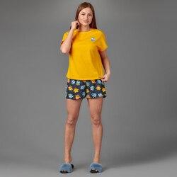 Atoff home women's pajamas ZHP 022 (pink/gray/yellow/blue + print)