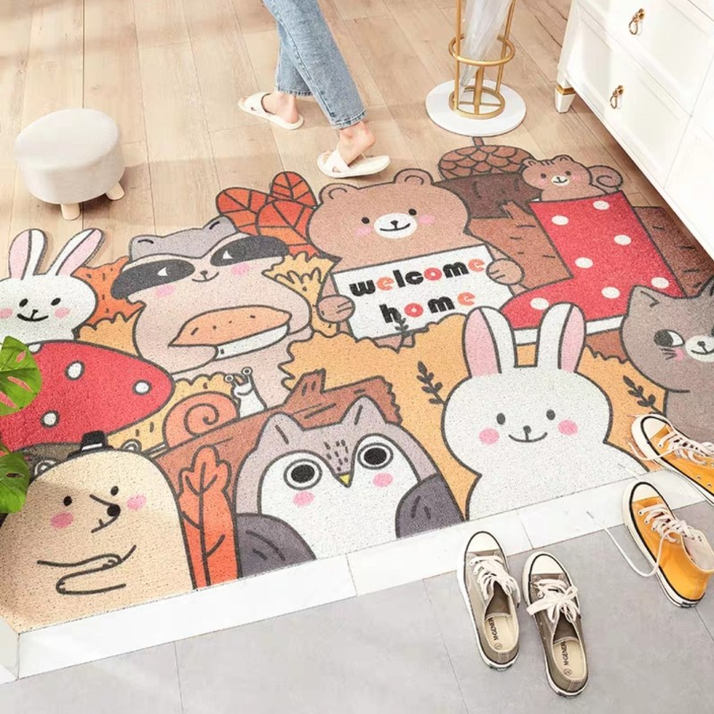 Cartoon Animals Pattern PVC Welcome Mat  Kitchen, Door Mat Cute Bears Bathroom Mat ,decoration Elasticity Yarn Woven Mat