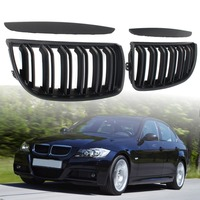 Car Front Gloss Matt Carbon Color Black 2 Line Double Slat Kidney Grille Grill For BMW E90 2004 2005 2006 2007 2008 Replacement