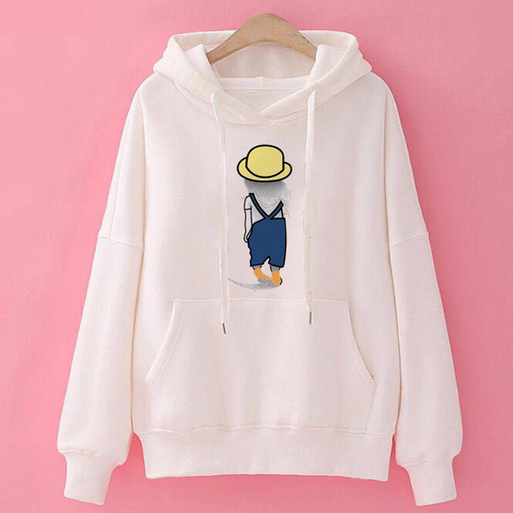Womens Letter Long Sleeve Print Sweater Pullover Hooded Sweatshirt Daily Tops Blouse