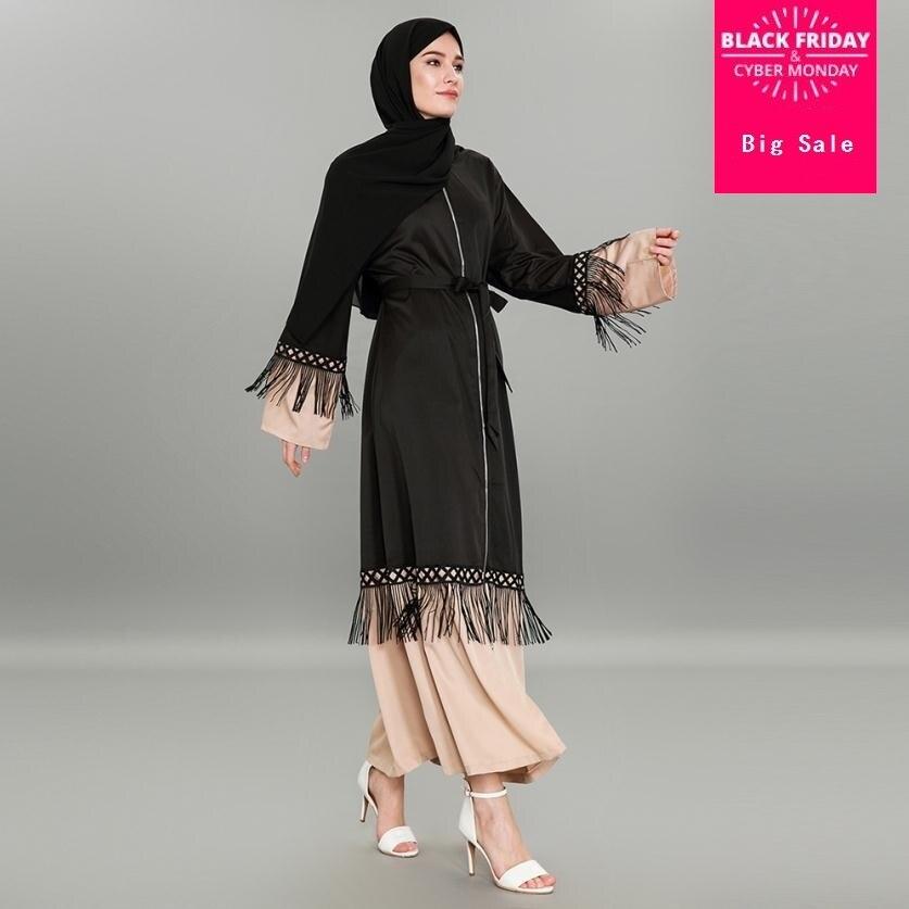 S-5XL Tassel Lace Fashion Muslim Dress Islamic Women Zipper Cardigan Robe Dubai Popular Styles Pray Service Clothing Wj1375