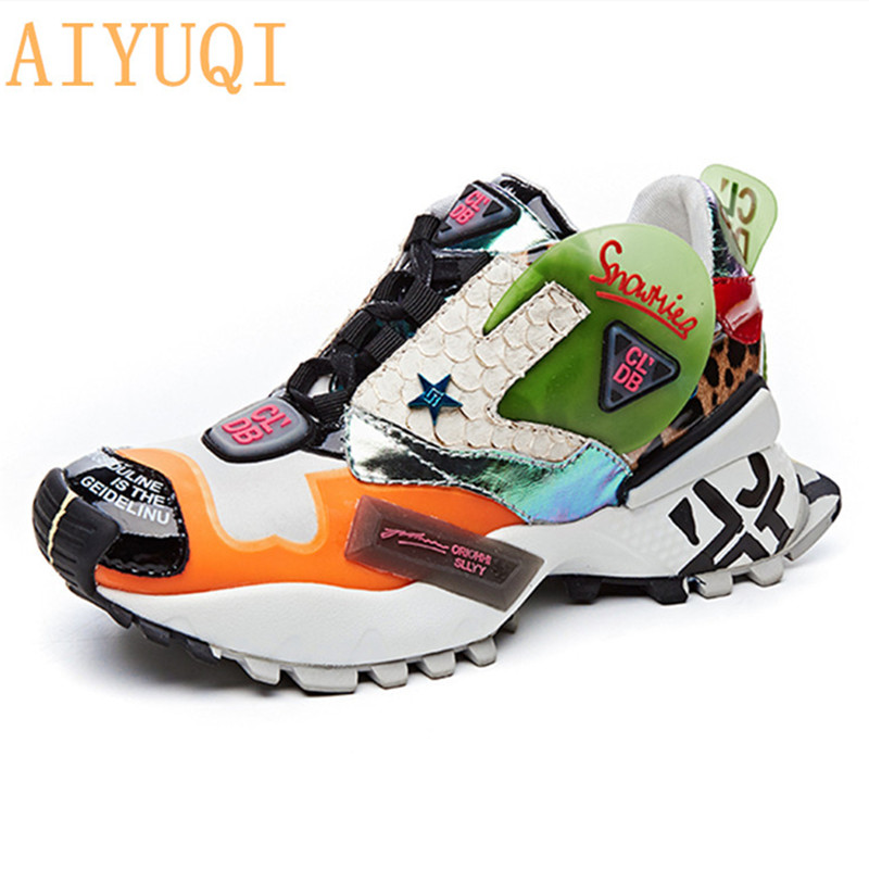 AIYUQI 2019 New Platform Basket Female Sneakers Women Genuine Leather Casual Woman Fashion Vulcanized Shoes