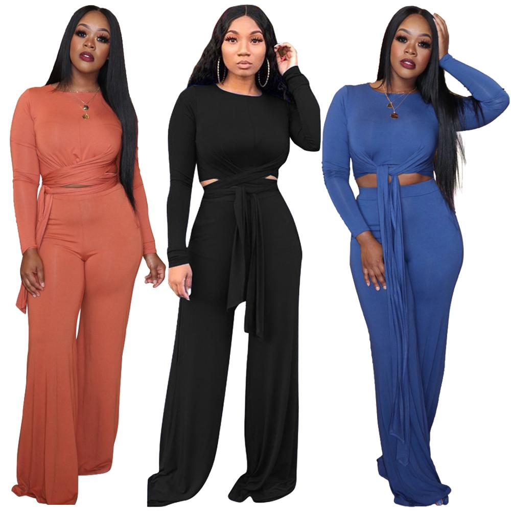 Women Fashion Soild Color Long Sleeve Two Pieces Sets Elegant Temperament Top And Pants Plus Size Workout Business Party Fitness