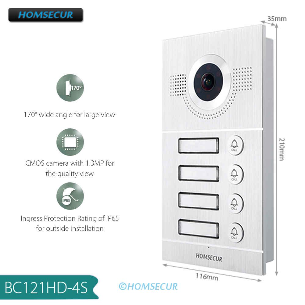 HOMSECUR 170° BC121HD-4S Outdoor Unit For HDK Video Door Phone Intercom System (Only Works With HDK Series Indoor Monitor)