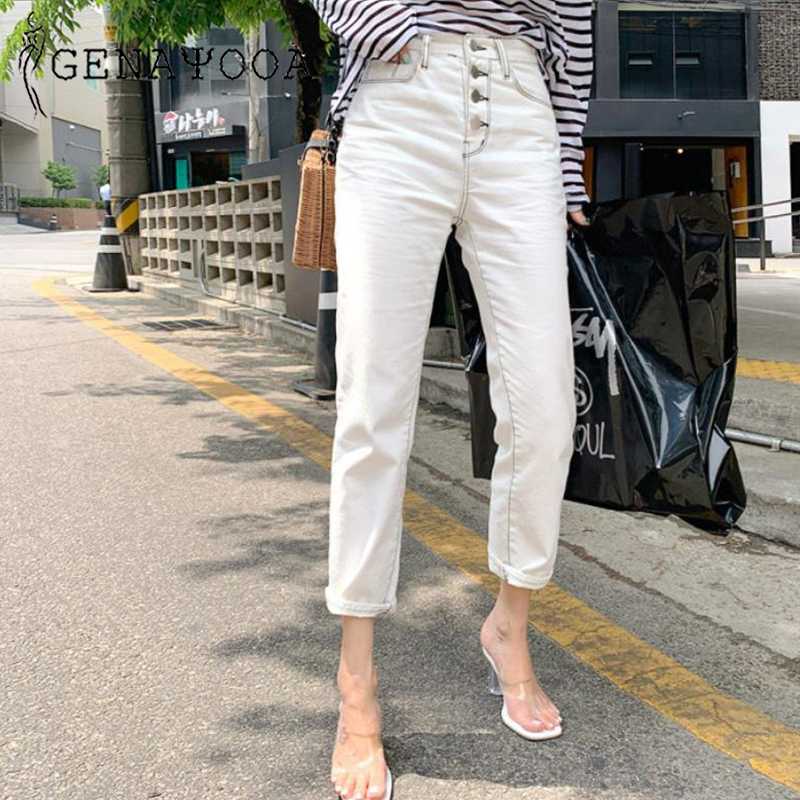 Genayooa  Korean Streetwear Denim Pants High Waist Jeans Woman Casual Boyfriend Jeans For Women Vintage White Trousers