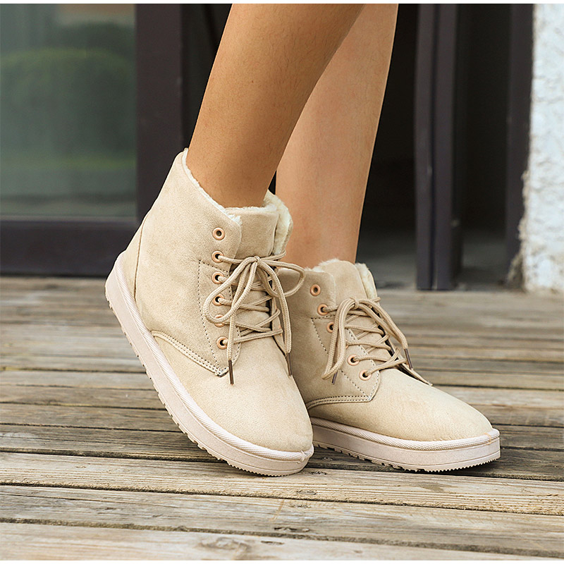 Women Flock Fur Flat Lace Up Winter Snow Suede Ankle Boots Female 41