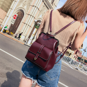 Image 4 - 2020 Vintage Retro Hasp women BackPack PU Leather school bag Backpack for Teenagers Girls Travel fashion female Shoulder Bags