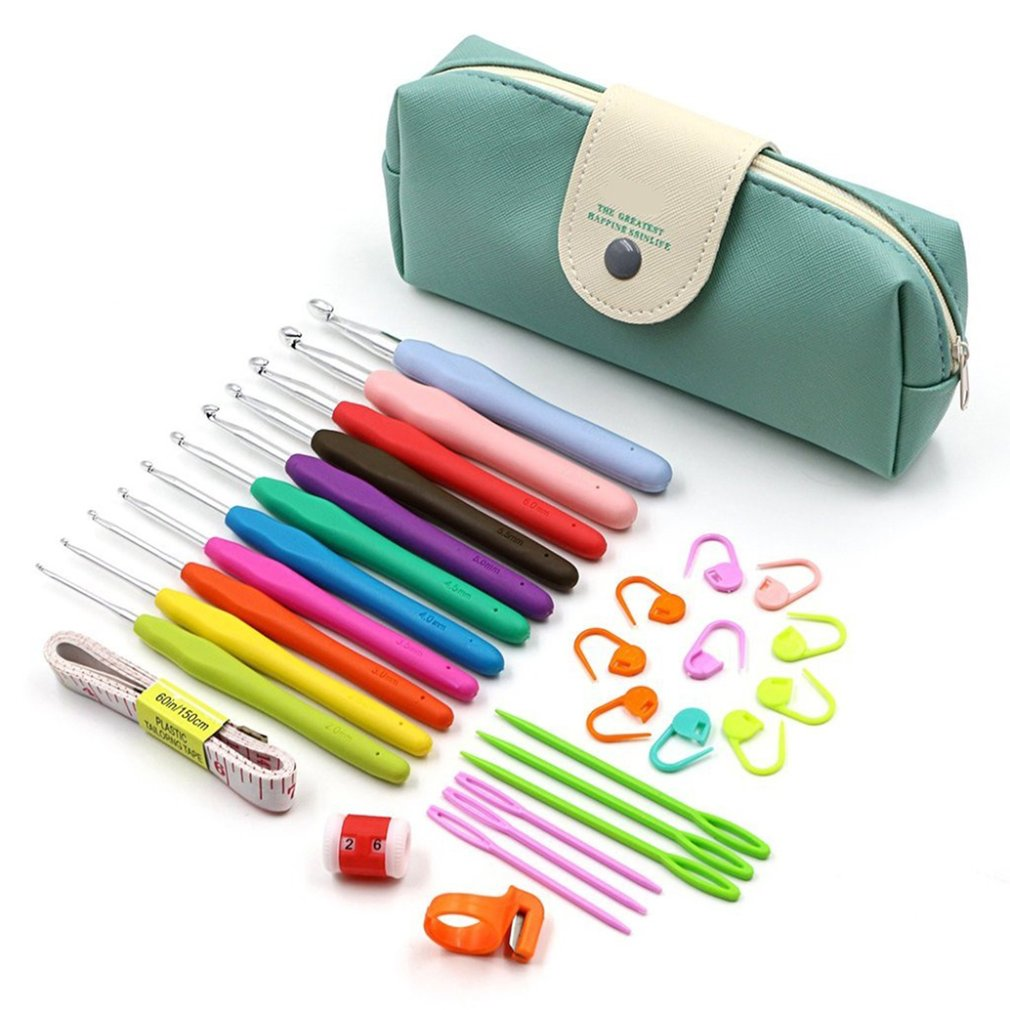 11pcs Soft Handle Aluminum Crochet Hooks Kit Yarn Knitting Needles Sewing Tools Ergonomic Grip Set With Storage Bag