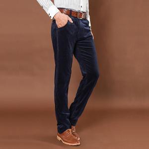 Image 2 - NIGRITY החורף עבה גברים מכנסיים אמצע המותניים רופפים אלסטי קורדרוי מכנסיים ארוכים ישר עסקי מכנסי קזואל 6 צבעים