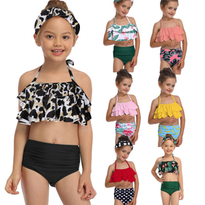 Green Leaf Print Bikini Sets For Toddler Girls and Girls 2020 Kids Children Swimsuits Swim Bathing Suits 2-14 Years