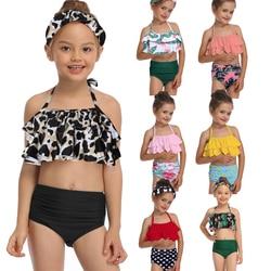 Зеленый лист печати бикини наборы для ухода за кожей, одежда для девочек ясельного возраста и для девочек 2021 Детские купальники купальные к...