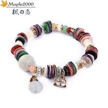 Женский браслет с бусинами и кристаллами богемный Маленький